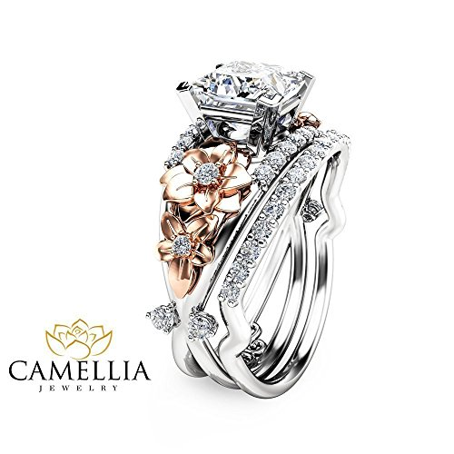 Princess Cut Moissanite Engagement Ring Set Floral 14K 2 Tone Gold Ring with Matching Band