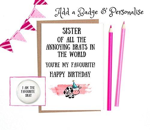 Funny Sister Birthday Card Sister Funny Birthday Card 1 X White
