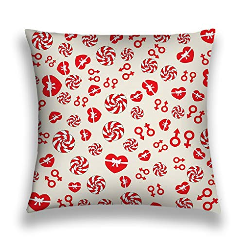 - YILINGER 18 X 18 Inch Cotton Home Decorative Throw Pillow Cover Cushion Case red Heart Candy Pattern Valentine s Day Love Romantic Design can be Used Wallpaper Cover Fills