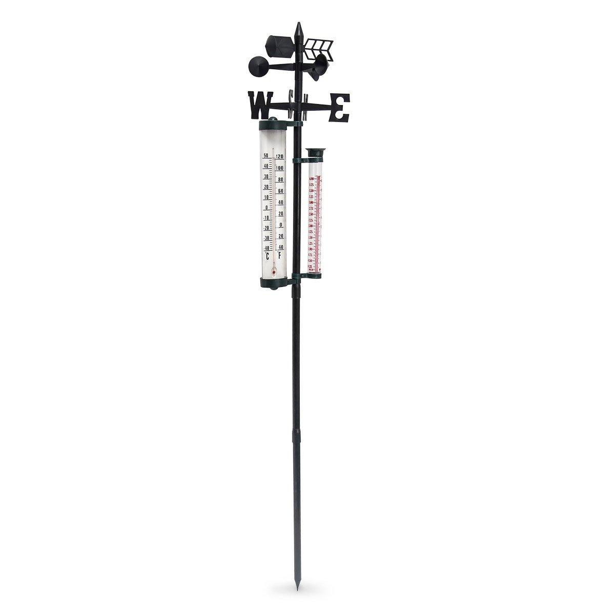 HxBxT: 145 x 24 x 24 cm schwarz Garten /& Balkon Windmesser Thermometer Megaprom Relaxdays Wetterstation analog Regenmesser