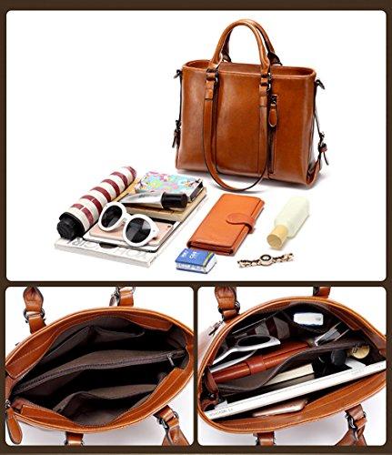 IYGO Leather Tote Bag for Women, Leather Top-Handle Shoulder HandBag Tote Bag Waterproof Crossbody Bag by IYGO (Image #2)