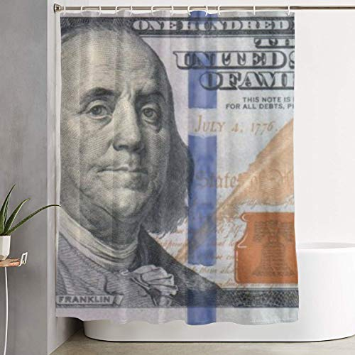 Oasws New 100 Dollar Bill Cozy Lovely Decor Pleasing Peculiar Design Hand Drawing Effect Fabric Shower Curtain-60 W × 72