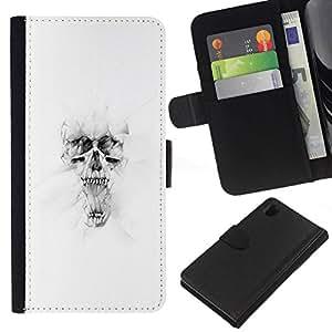 NEECELL GIFT forCITY // Billetera de cuero Caso Cubierta de protección Carcasa / Leather Wallet Case for Sony Xperia Z1 L39 // Blanco Cráneo