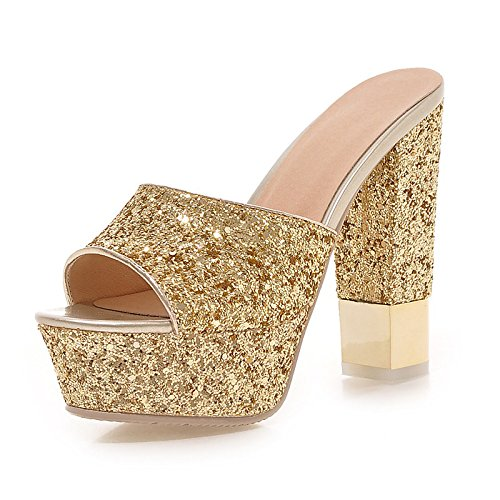 Sera per donna Heel Gold pompa vestito Oro Scarpe Sequin ZHZNVX Bianco Peep comodità estate sandali partito Nero Chunky la Paillette base autunno della toe q5FHwax