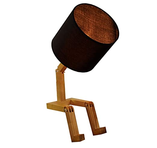 Monbedos Creativo De madera Robot Lampara de mesa Inicio ...