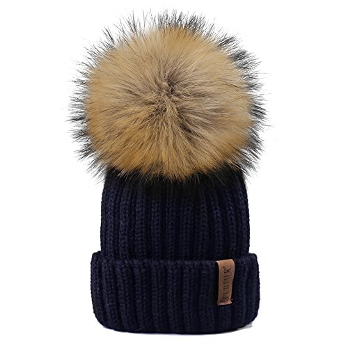 Kids Winter Knitted Pom Beanie Bobble Hat Faux Fur Ball Pom Pom Cap Unisex Kids Beanie Hat,Navy,One Size Old Navy Winter Hat