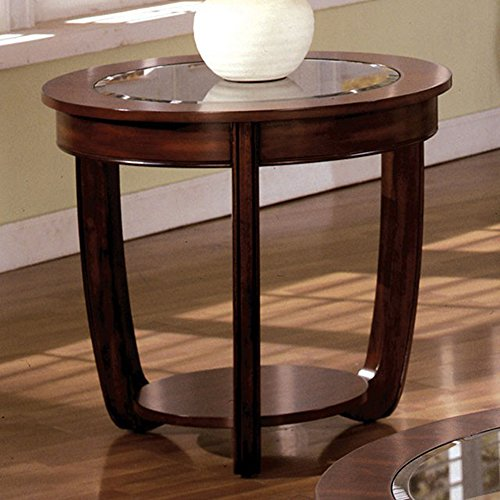 Cherry Oval Sofa Table - End Table with Glass Top in Dark Cherry Finish by Furniture of America