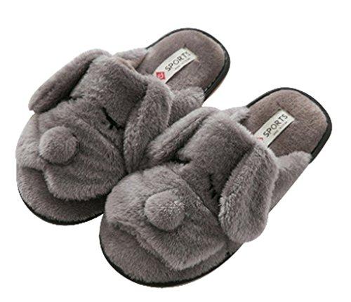 Mujeres Warm House Indoor Dog Slippers Zapatillas De Interior Gris