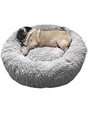 Legowisko dla zwierząt domowych, dla psa, kota, szczeniaków, okrągłe, miękkie, w kształcie pączka, 60 cm, jasnoszare
