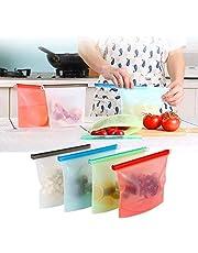 LIGONG 4 Pieces Reusable Vacuum Silicone Food Bag Refrigerator Fresh Bags Kitchen Food Sealing Storage Bag Home Food Grade Silicone, 1000ml