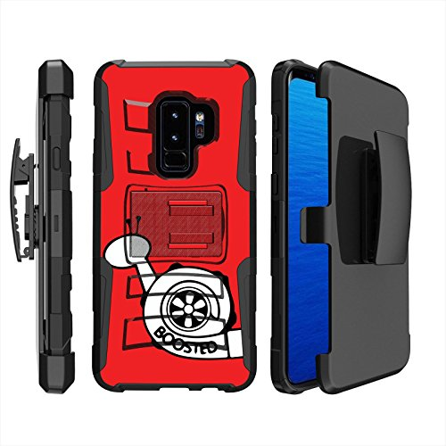 ([Case86] Dual Hybrid Armor for Samsung Galaxy S9+ [Black/Black] Armor Holster Case [SCREEN PROTECTOR INCLUDED] - [Boost Snail])