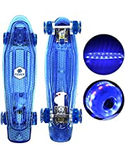 XPOWER Skateboard 22 Inch 10 Colorful LEDs Effects Cruiser Complete Skateboard with ABEC-7 High Speed Bearings & Soft PU Bushing LED Wheels, Skateboard for Girls, Boys, Beginners Pros Outdoor Sports
