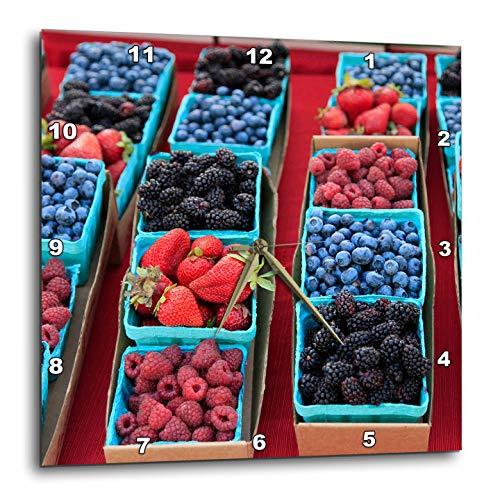 3dRose Danita Delimont - Food - USA, Oregon, Portland. Display of Berries at Farmers Market. - 13x13 Wall Clock (DPP_314972_2) (Patio Portland Oregon Furniture)