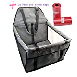 """Dog Car Booster Seat,Vishm Portable Car Pet Booster Seat with Clip-On Safety Leash and Zipper Storage Pocket for Small Dogs and Cats UP to 20 Pounds,15.7"""" Lx11.8 Wx9.8 H (Grey)"""