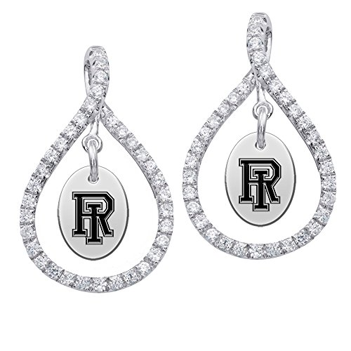 Rhode Island Rams Sterling Silver and White CZ Figure 8 Style Earrings by College Jewelry