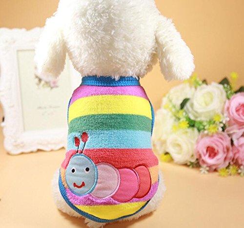 Znyo Gato Perro Ropa Franela cálida Bordado Colorido Caterpillar Mascota decoración S