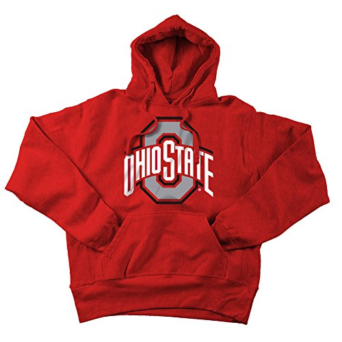 Ohio State Buckeyes Hoodie Sweatshirt Red Applique - 2XL (State Applique)
