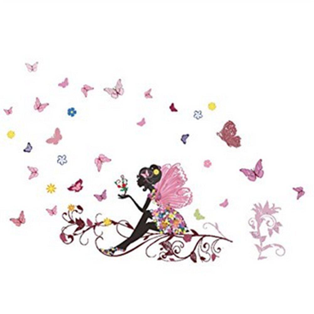 Aloiness Schon Blumenfee Wandkunst Schmetterling Wandaufkleber Fur Prinzessin Madchen Zimmer Kinderzimmer Wandtattoos Dekorationen Aufkleber Wohnaccessoires Deko