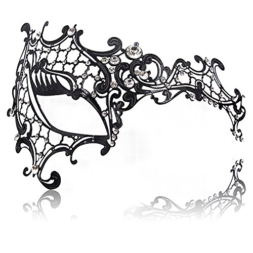 FaceWood Masquerade Mask for Women Ultralight Metal Mask Shiny Rhinestone Venetian Pretty Party Evening Prom Ball Mask.(03)