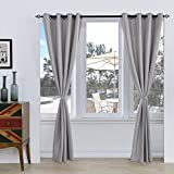 "Subrtex Room Thermal Insulated Window Treatment Grommet Blackout Window Curtains/Drapes(52""x95"",2 Panels,Light Gray) For Sale"