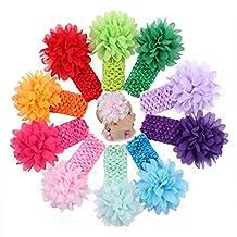 ComfortableBABY-Baby Girls Toddler Bow Headband Elastic Hair Bows Newborn Headwear-Polygonal Flower (C03#-10Pack)