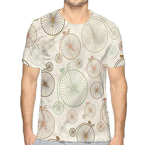 Mens t Shirt Vintage,Antique Indie Bicycle Wheel HD Print t Shirt XL