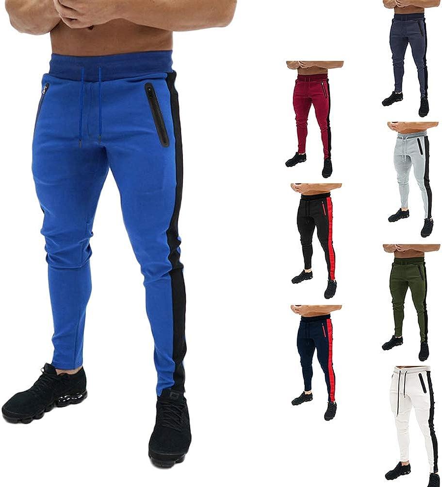 ORANDESIGNE Pantalones de Hombre Pantalones Deportivos Casuales Pantalones Pitillo Ajustados Pantalones Largos De Running Pantalones Deportivos El/ásticos Pantalones