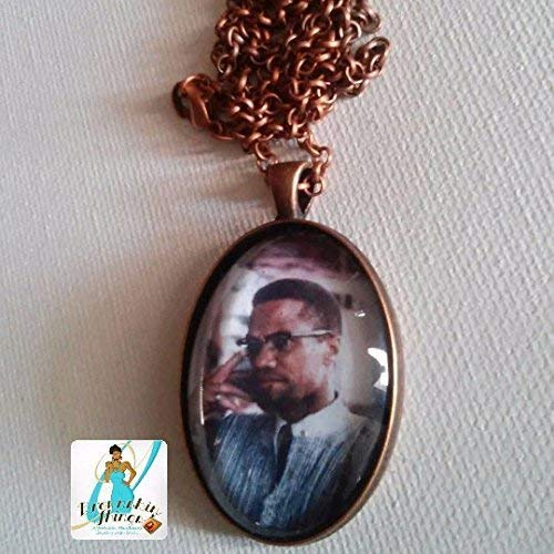 Malcolm in Ghana Glass Pendant Necklace by Brownskin Things Inc. - Ghana, West Africa - 1964 - Handmade - Afrocentric Jewelry - African American Crafts - 2 Day - Two Day Shipping
