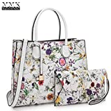 Women Fashion Handbag Matching wallet~Classic Women Satchel Tote Bag Shoulder Bags~Signature Women Designer Purse~Perfect Women Satchel handbag with Spring colors (FN-23-7661-WHITE FLOWER)