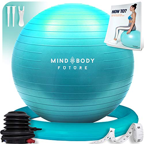 Exercise Ball Chair & Stability Ring. 65cm Turquoise. ANTI-SLIP & ANTI-BURST FOR SAFETY. Ideal for Yoga, Pilates or Birthing Therapy - Includes Bonus eGuide & Pump