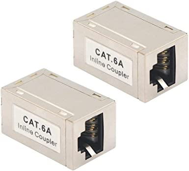Cat6A RJ45 Network LAN Ethernet 10G Keystone Jack Inline Coupler Joiner White