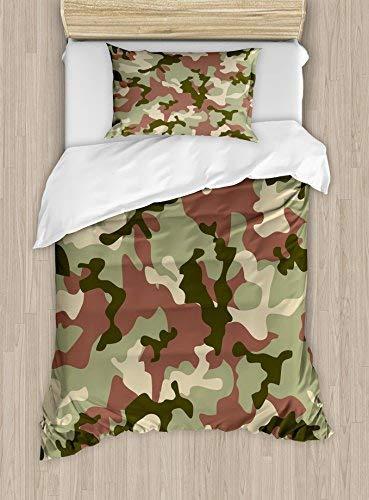 Juego de funda nórdica por ambesonne, Illustrated Verde Camuflaje en bosque colores Hunter Combat de camuflaje, decorativos...