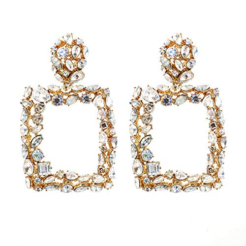 Sanvaree Statement Drop Earrings Gorgeous Colorful Crystal Gold Geometric-Shaped Dangle Earrings for Women Girls (Crystal Square(White))