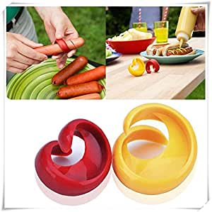 Kitchen Tools & Gadgets 2pcs Durable Plastic Home Kitchen Tool Spiral Hot Dog Sausage Cutter Slicers