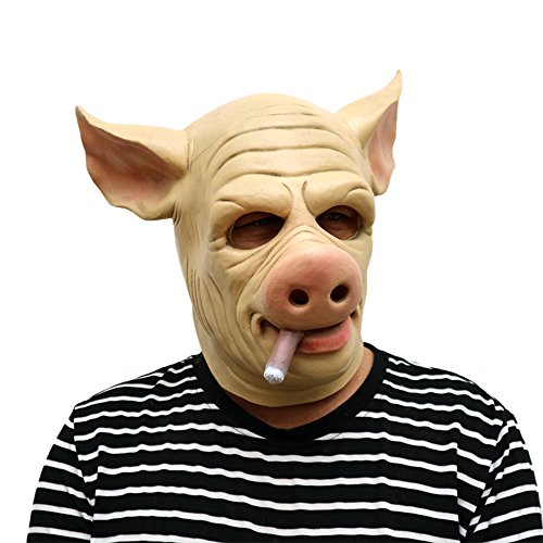 Demon Scary Costume Mask for Adults Horrific Fancy Pig Mask Halloween Latex Mask Cosplay Props Realistic Evil Mask (One Size) -