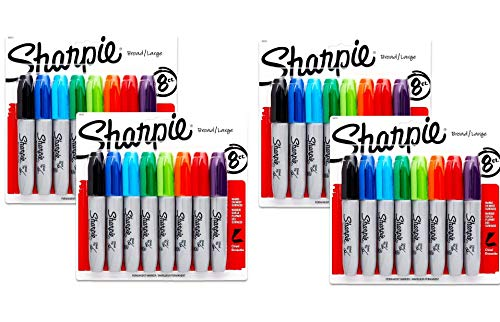 Sharpie Permanent Markers, Chisel Tip, Assorted Colors, 8-Count (38250PP) - 4 Packs, 32 Markers in Total - Black, Blue, Turquoise, Green, Lime, Orange, Red, and Purple ()