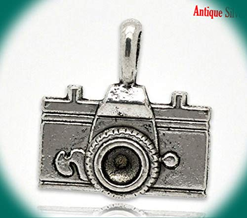 4 Pc Antique Silver Camera Charm Pendants 22x21mm Vintage Crafting Pendant Jewelry Making Supplies - DIY for Necklace Bracelet Accessories by CharmingSS