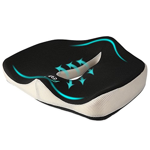 Seat Cushion, Feagar Memory Foam Chair Pad/Coccyx Pillow for Car Seat, Office/Computer Chair and Wheelchair, Orthopedic Breathable & Ergonomic Design for Sciatica, Tailbone Pain Relief