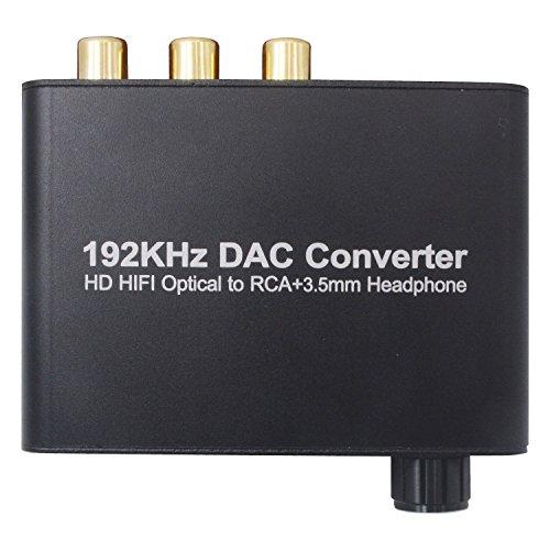 ZEXMTE Digital Audio Converter 192kHz DAC 3.5mm Jack Audio Adapter for HDTV