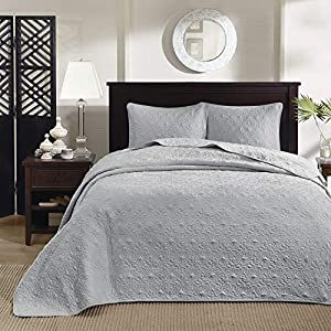 Madison Park Quebec Queen Size Quilt Bedding Set - Grey , Damask – 3 Piece Bedding Quilt Coverlets – Ultra Soft Microfiber Bed Quilts Quilted Coverlet