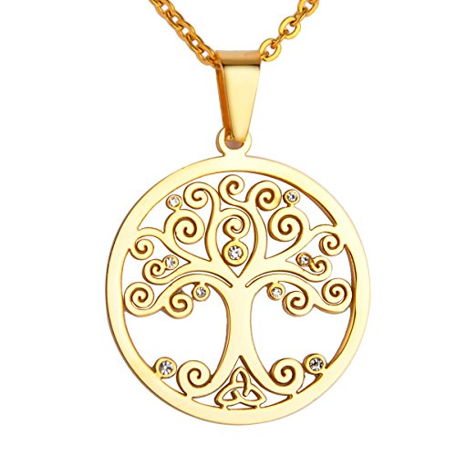 - Valyria Stainless Steel Gold Round Tree of Life Celtic Charm Pendant Necklace,3cmx1.5mm