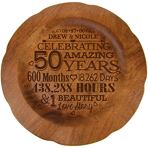 Personalized 50th Wedding Anniversary Plate Gift for Her, Happy 50 Year Anniversary for Him, 12