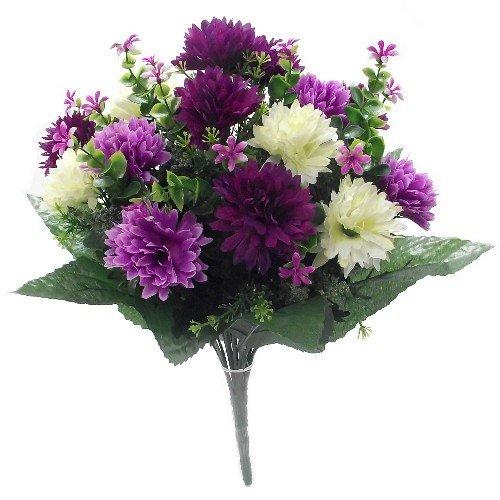 41cm Large Artificial Spikey Mum lilac / purple & cream flower bush Home Grave Wedding