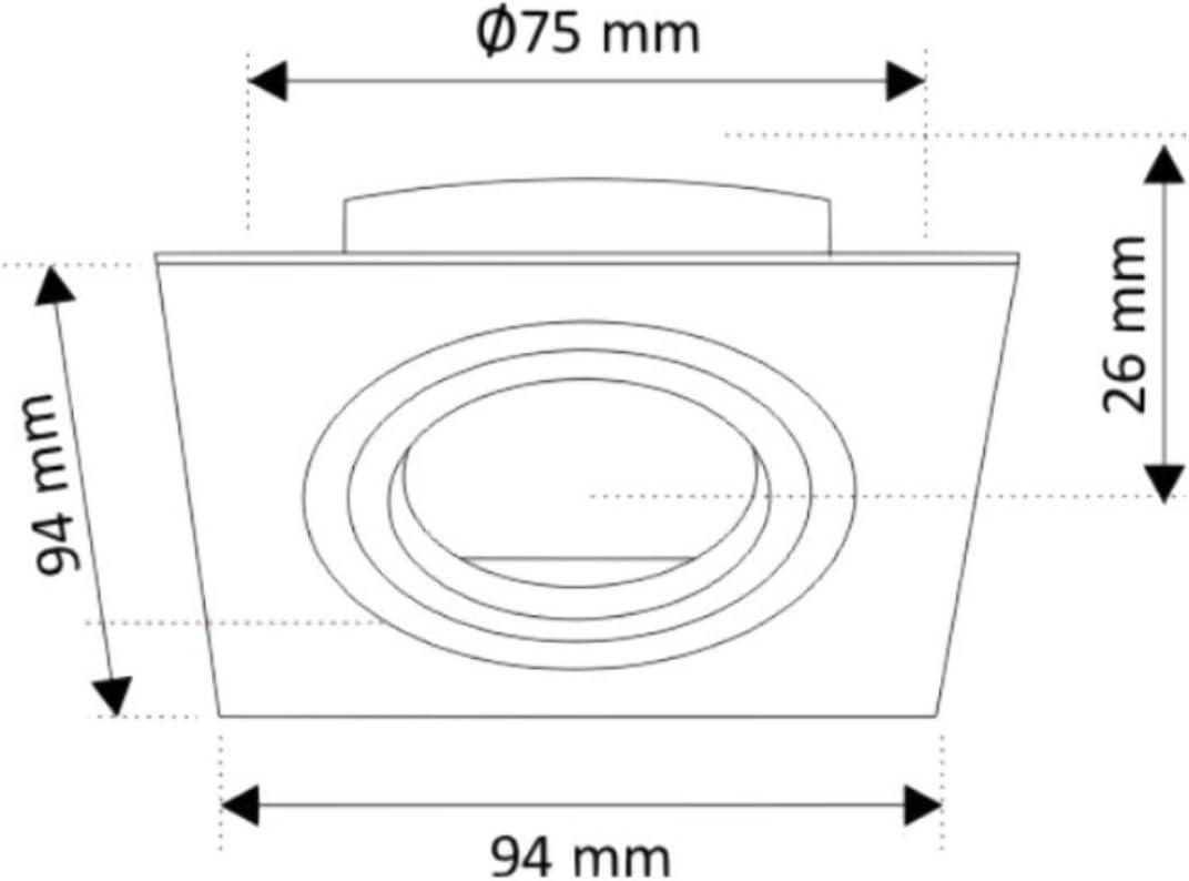 incl Spot Einbaurahmen Eisenguss GU10 230V max eckig schwenkbar 50W GU10-Fassung mit Klickverschluss eisen-geb/ürstet