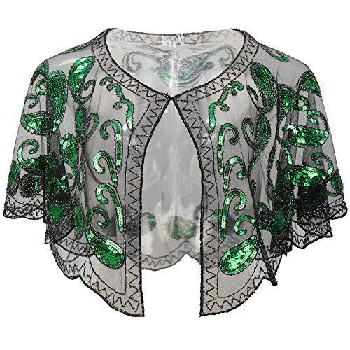 BABEYOND 1920s Shawl Wraps Sequin Beaded Evening Cape Bridal Shawl Bolero Flapper Cover Up (Green) ()