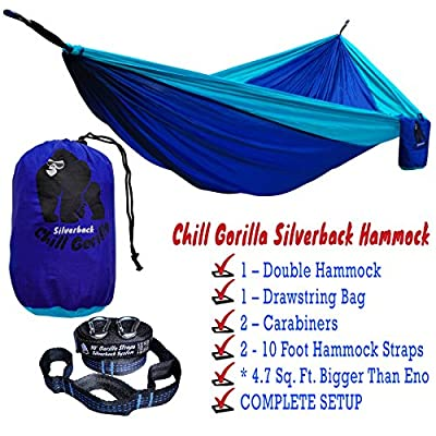 NEW Double Camping Hammock With Tree Straps Blue 4.7 Sq Ft Bigger Than Eno and Others Lightweight Weather Resistant Parachute Nylon Perfect for Travel Hiking Supports 661 lbs.