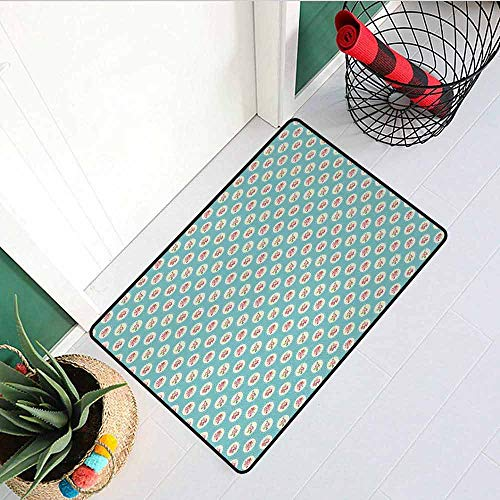 GloriaJohnson Shabby Chic Inlet Outdoor Door mat Circular Pattern with Flower Motifs Blossoming Spring Nature Catch dust Snow and mud W19.7 x L31.5 Inch Pale Blue Apple Green Pink