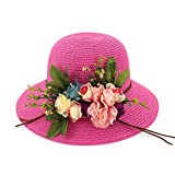 New Straw Hat Ladies Beach Large Dome Hat Shade Garden Flowers Big Sun Hat Bowl Hat Fisherman Hat,rose Red,adjustable