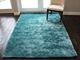 Cheap 5-Feet-by-7-Feet Pile Rug Fluffy Fuzzy Modern Home Store Solid Kitchen Outdoor Indoor Bedroom Living Room Throw Carpet Floor Shag Rug Light Blue Dark Blue Aqua Blue Turquoise New (Aroma Turquoise)