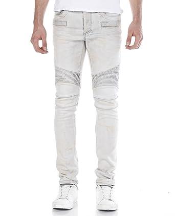 00fa311c7bc25 Red Bridge Herren Dirty Biker Skinny Röhrenjeans Jeans Pants Denim Weiß W30  L32